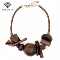 Latest Women Indain Jewelry Collar Chokers Necklaces Vintage Handmade Leather Wrap Wood Ball Maxi Statement Necklaces & Pendants