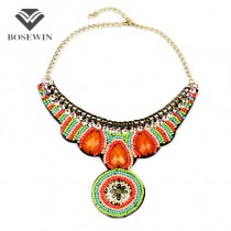 Fashion Boho Style Colorful Acrylic Beads Handmade Collar Necklaces Statement Jewelry Chokers Women Dress Ethnic Accessories