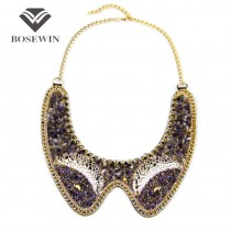 Bohemia Style Women Collar Necklaces Fashion Gold Chain Multicolor Stone Beads Big Choker Statement Necklaces & Pendants CE3530