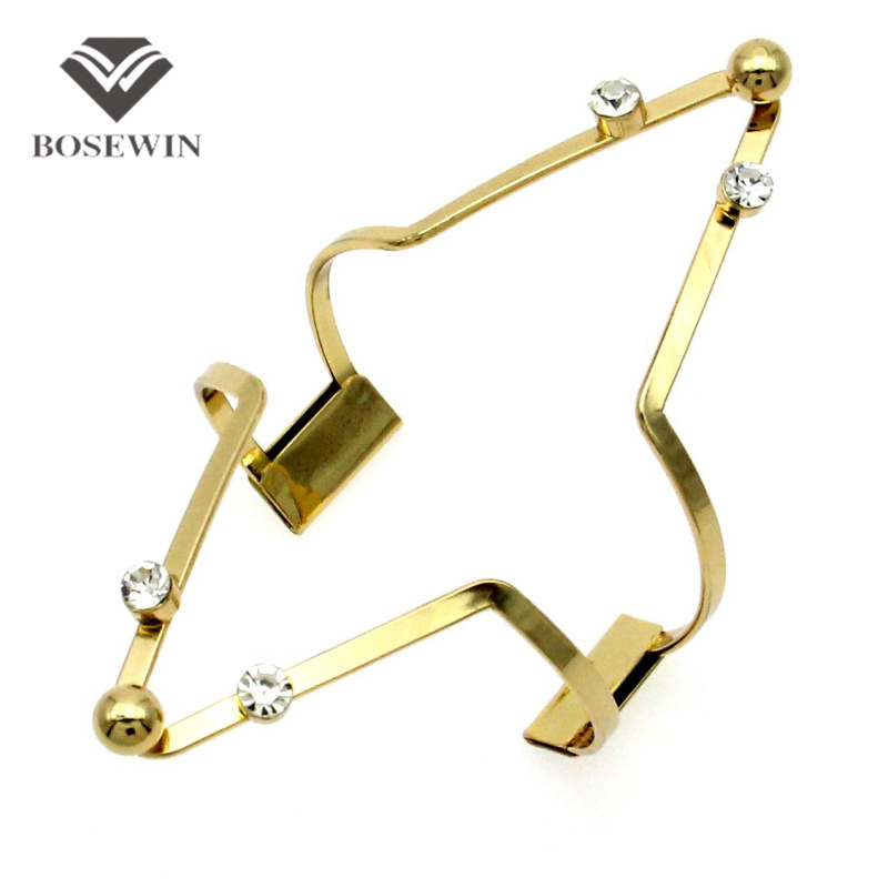 Hollow Design Alloy Big Cuff Bangles 2016 New Fashion Rhinestones Geometric Bracelet For Women Statement Jewelry Collier Femme