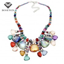 Women 's Bohemia New Chic Pendants Necklaces 2016 Beaded Chain Geometric Crystal Gems Choker Handmade Statement Necklaces CE3877