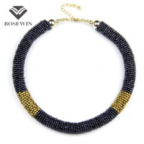 Fashion Handmade Necklaces 2015 Women Short Design Flexible Torques Beads Chunky Collar Chokers Statement Necklace CE2545