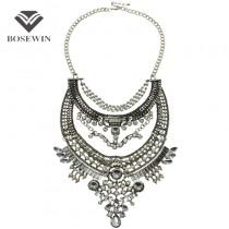 Hot Bohemia Women Big Necklaces Fashion Rhinestones Vintage Metal Choker Statement Necklaces & Pendants Collares Jewelry Ethnic