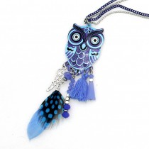Fashion Long Chain Multicolor Owl Pendant Necklaces With Feather Crystal Bead Tassels Women New Accessories Charm Jewelry CE4028