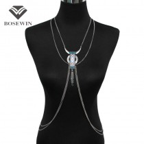 Aboriginal Alloy OX HEAD Type Pendants Women Beachy Sexy Body Jewelry Beaded Tassel Body Chains Necklaces Vintage Accessories