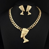 Women Fashion Jewelry Sets 2015 Gold Chain Alloy Egyptian pharaoh Pendants Necklaces Earring Sets Women Gift Wholesale CE2397