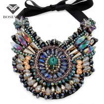 Ladies Luxury boho Design Chokers Fashion Multicolor Crystal Statement Necklaces 2015 Women Party Wear Collar Necklaces CE2970