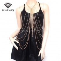 Gold Body Chain Necklace Crystal Women Necklaces & Pendants Sexy Long Necklace Collares 2015 Statement Jewelry Accessories