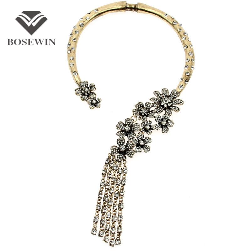 Vintage Collar Torques Flower Chokers Necklaces Women Ethnic Jewelry Long Rhinestones Tassels Statement Necklaces & Pendants