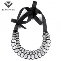 Hot Sell Fashion Black Ribbon Cross Acrylics Crystal Statement Collar Choker Necklace For Women C68001