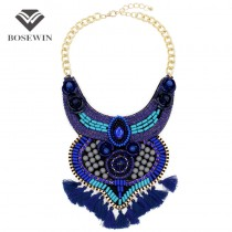 Bohemia Statement Necklace For Women 2016 Big Fashion Rhinestone Bead Yarn Tassels Choker Collar Handmade Necklaces & Pendants