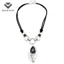 Bohemian Choker Rhinestone Crystal Inlay Leaf Statement Pendants Necklaces For Women 2016 Charm Jewelry Vintage Accessories