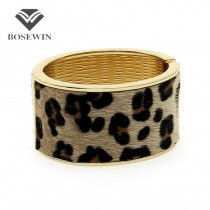 Fashion Leopard Horsehair Spring Opened Oval Wide Cuff  Bangles Bracelet Women Statement Jewelry Nickle free BL197