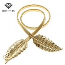 2016 Hot T-stage Belts For Women Golden Belt Female Leaf Belt Fahion Waist elastic Women's Belts Evening Dress Cummerbund