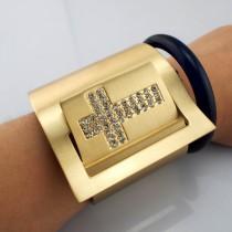 Gothic Punk Gold Plated Metal Rhinestones Cross Bracelet Wide Wrap Cuff Bangles & Bracelets For Women Statement Jewelry BL036