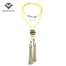 Bohemian Casual Long Necklaces Layers Crystal Bead Leather Tassels Women Fashion Jewelry Statement Pendants Necklaces CE4016