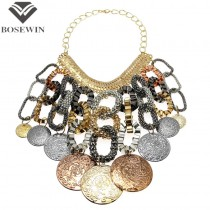 Women Exaggerate Accessories Craving Big Coin Statement Necklaces Fashion Chain Gypsy Bohemian Necklaces & Pendants CE2592