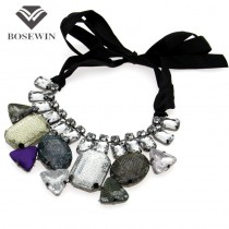 Classic Ribbon Statement Collars Necklaces Fashion Multicolor Acrylic and Laces Choker Statement Jewelry For Women Dress N68076
