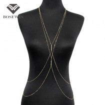 Fashion PC Gold Chain Body Jewelry Women Simple Necklace Double Rhinestones Inlay Body Chains Necklaces Sexy Accessories CE3948