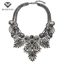 Women Luxury Statement Chokers Necklaces Vintage Flower Design Rhinestones Maxi Big Necklaces & Pendants 2016 Fashion Jewelry