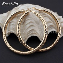 Fashion Female Jewelry 55mm Diameter Shiny Faceted Alloy Round Thick Hoop Earrings For Women Collier Statement Jewelry  FE042