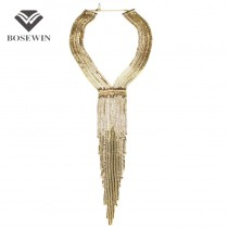 Fashion Chain Tassel Collar Rhinestones Long Necklaces Big Statement Jewelry Women Evening Dress Accessories Maxi Bijoux CE2689