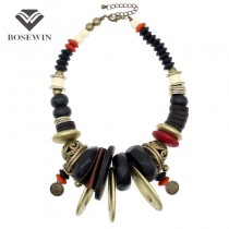 Indian Style Women Vintage Statement Necklaces Geometric Wood Beads Collar Big Choker Hand Made Jewelry Fashion Accessories 2016