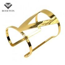Hollow Design Trilateral Gold Bracelet Manchette Wrap Jewelry Fashion Opened Women's Cuff Bangles Bracelets Statement BL148