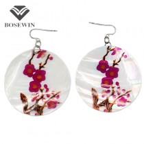 Fashion Chinoiserie Plum blossom Circular Shell Drop Earrings Big Eardrop Women pendientes Jewelry Wholesale price Gift FE095