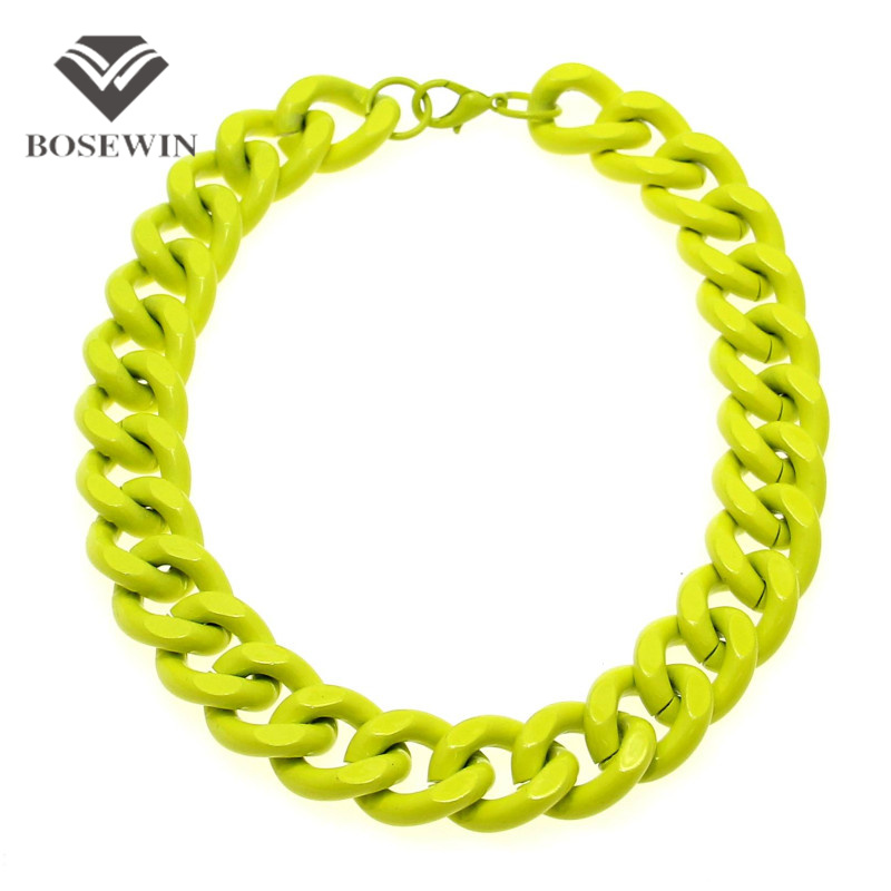 4 Neon Colors Spray Paint Exaggerated Chunky Metal Chain Necklaces For Women 2016 Collar Statement Jewelry Fashion Accessories