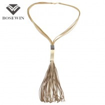 4 Color Handmade Leather Long Tassels Necklaces Multi layers Statement Necklaces & Pendants Fashion Women Charm Jewelry CE3439