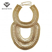 Boho Style Women Exaggerated Multilevel Chain Pendants Statement Necklaces Big Jewelry Fashion Collar Choker Maxi Accessories