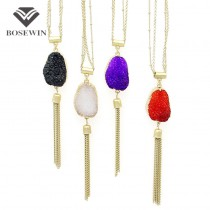 Fashion Tassel Stone Pendant Necklace For Women 2016 Geometric Stone Resin Long Matt gold Copper Chain Simple Necklaces CE3886
