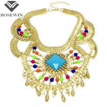 Fashion Boho Style Gold Chunky Chains Cross Rhinestones Colorized Resins Beads Statement Necklaces For Women 2015  CE1217