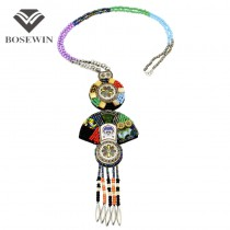 Chinoiserie Paint Ceramic Necklaces and Colorful Bead Long Necklace Geometric Statement Necklaces & Pendants Bohemia Jewelry