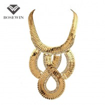 Fashion Chunky Chain Inlay Rhinestone Maxi Necklace Women Ethnic Design Collar Statement Necklaces & Pendants Big Jewelry