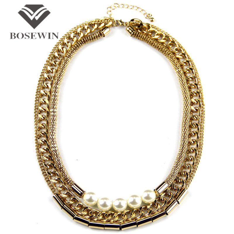 Women Multi layers Chain Necklaces Gold Plated Tube imitation Pearls Necklaces Fashion Collar Chokers Clothes Jewelry CE2343