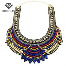 Fashion Hand Made Ethnic Choker Necklace Bib Collares Multicolor Beads Boho Statement Jewelry Women Accessories 2016 CE3581