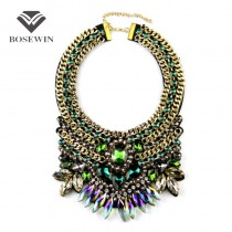 Women Party Exaggerate Accessories Fashion Luxury Choker Multicolor Crystal Gold Chain Collar Statement Necklaces Maxi Jewelry