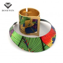 Trendy Country Style Multicolor Painting Torques Spring Cuff Bracelet Bangles Necklace Sets Women Party Indian Statement Jewelry