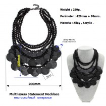 Women Multilayers Statement Necklace Fashion Black Bead Chain Metal Piece Chokers Bib Collares Maxi Necklaces & Pendants Collier
